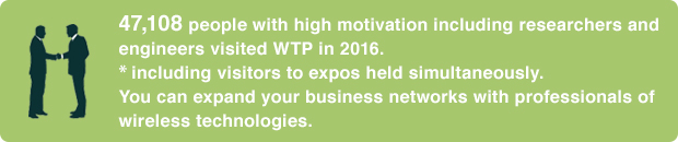 47,108 people with high motivation including researchers and engineers visited WTP in 2016. ※including visitors to expos held simultaneously. You can expand your business networks with professionals of wireless technologies
